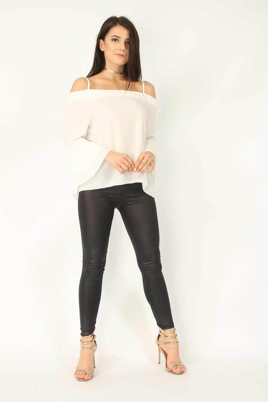 Ivory Crepe Cami Frill Sleeve Top