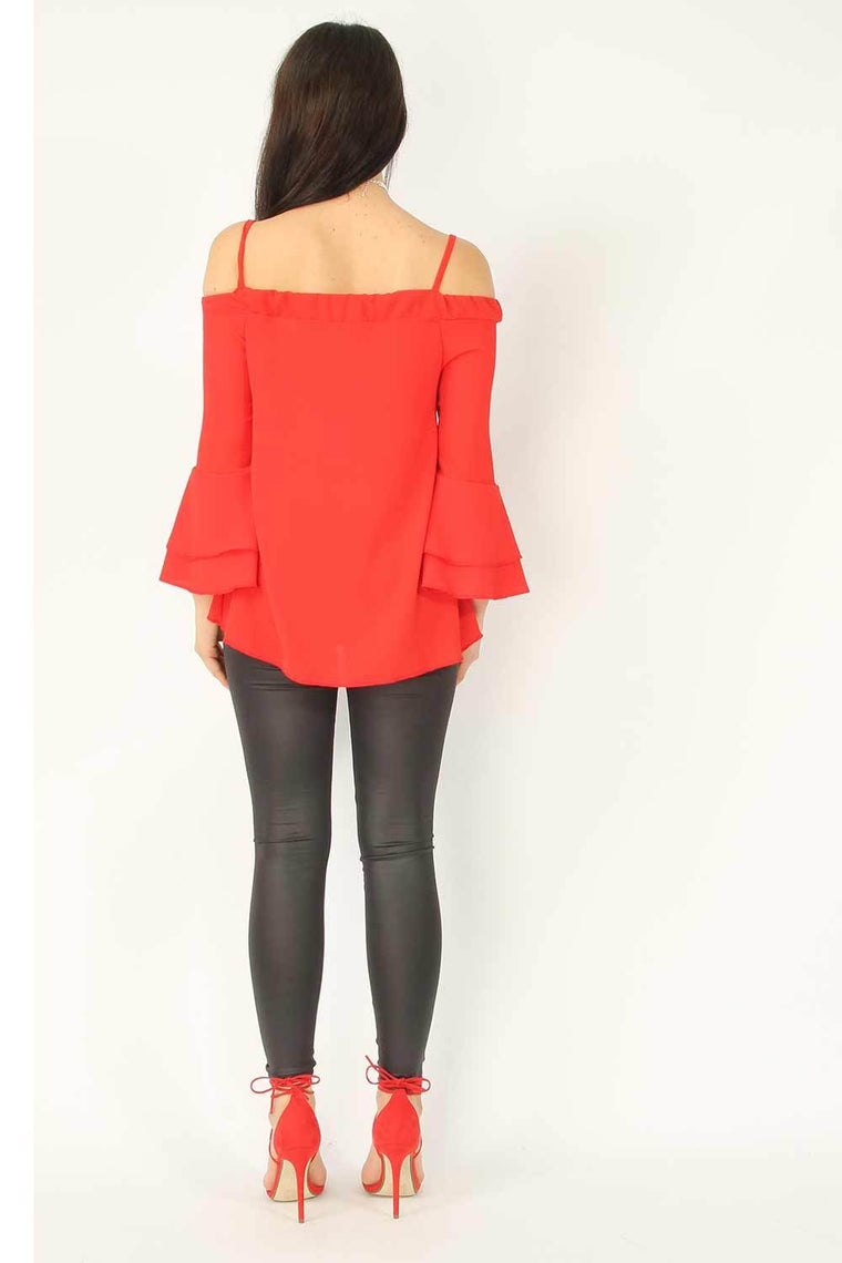 Red Crepe Cami Frill Sleeve Top
