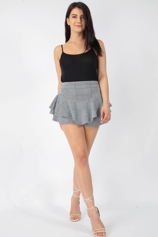 Layered Frill Check Skort
