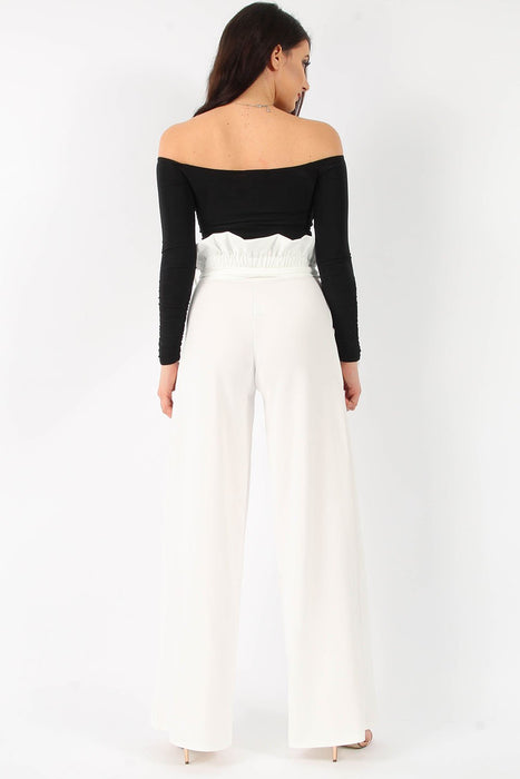 Paperbag Wide Leg Trousers Ivory