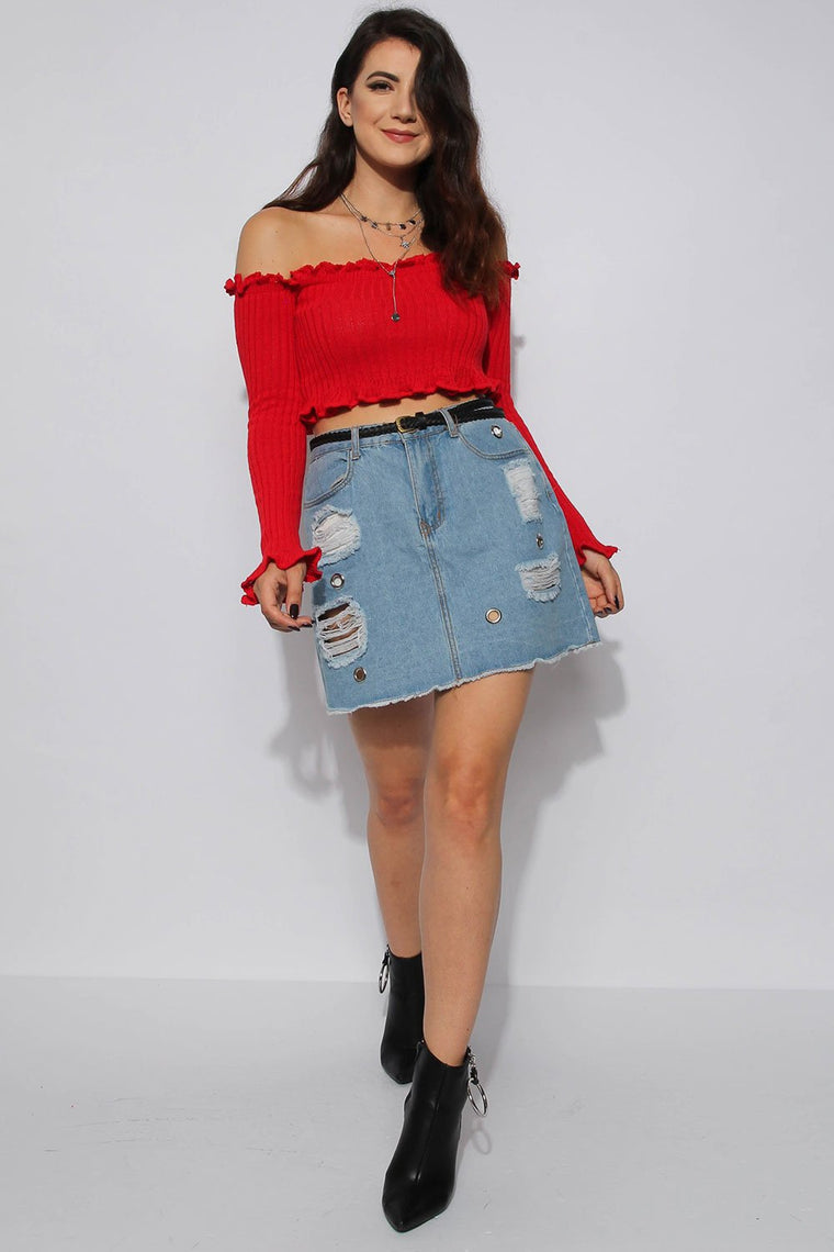 Ruffle Bardot Ribbed Red Top