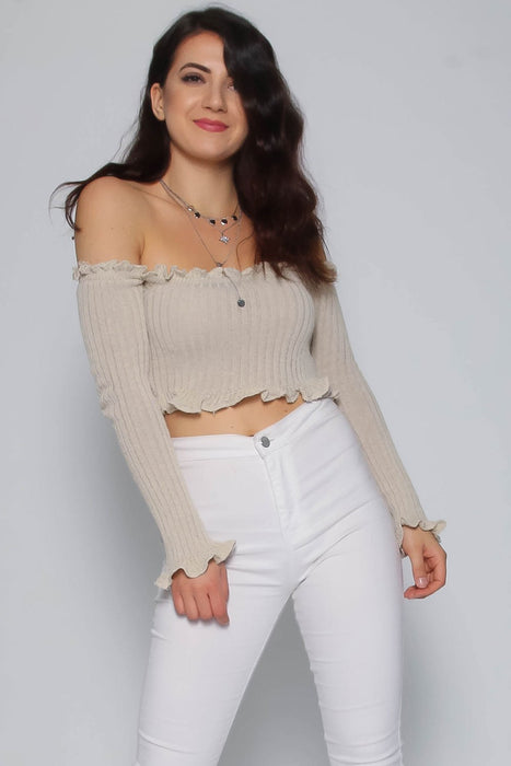 Stone Ruffle Bardot Ribbed Top