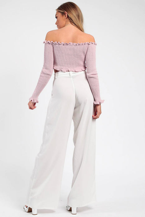 Ruffle Bardot Ribbed Rose Top