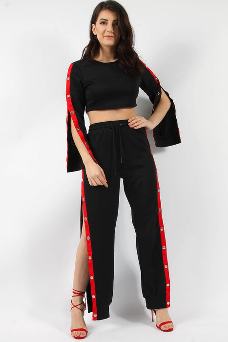 Red Popper Top & Jogger Lounge Suit