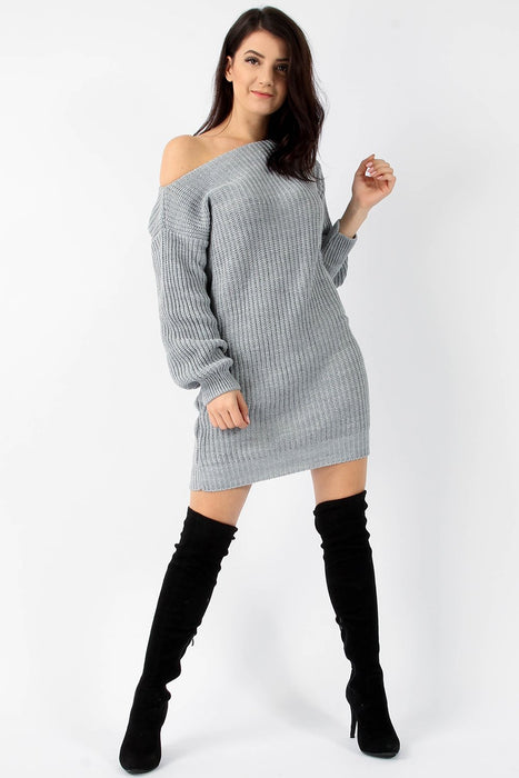 Longline Knitted Jumper Dress Grey