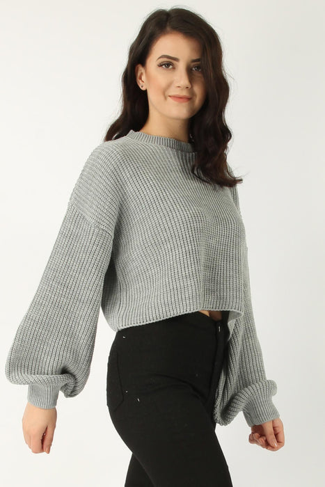Grey Baloon Sleeve Knitted Jumper