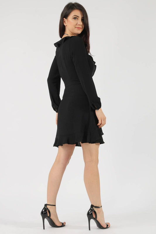 Frill Wrap Black Skater Dress