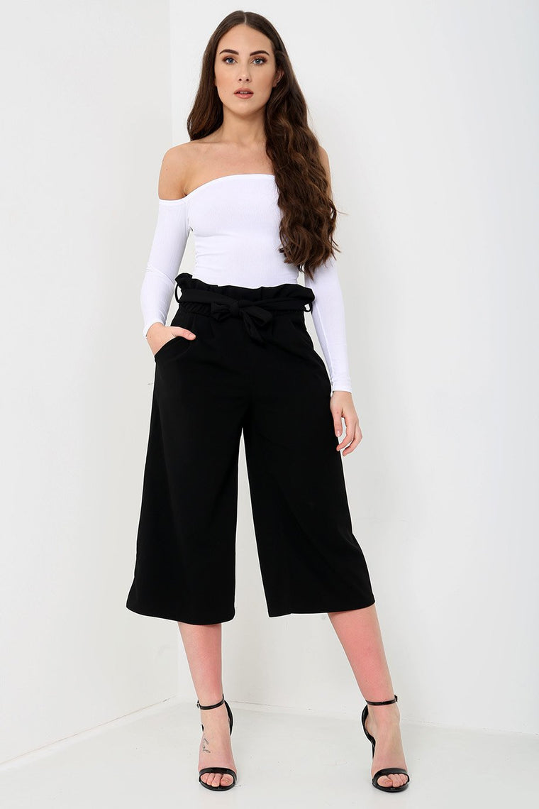 Black Paperbag Wide Leg Trousers