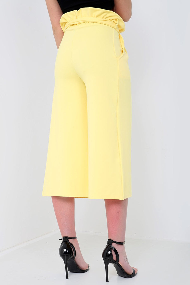 Lemon Paperbag Wide Leg Trousers