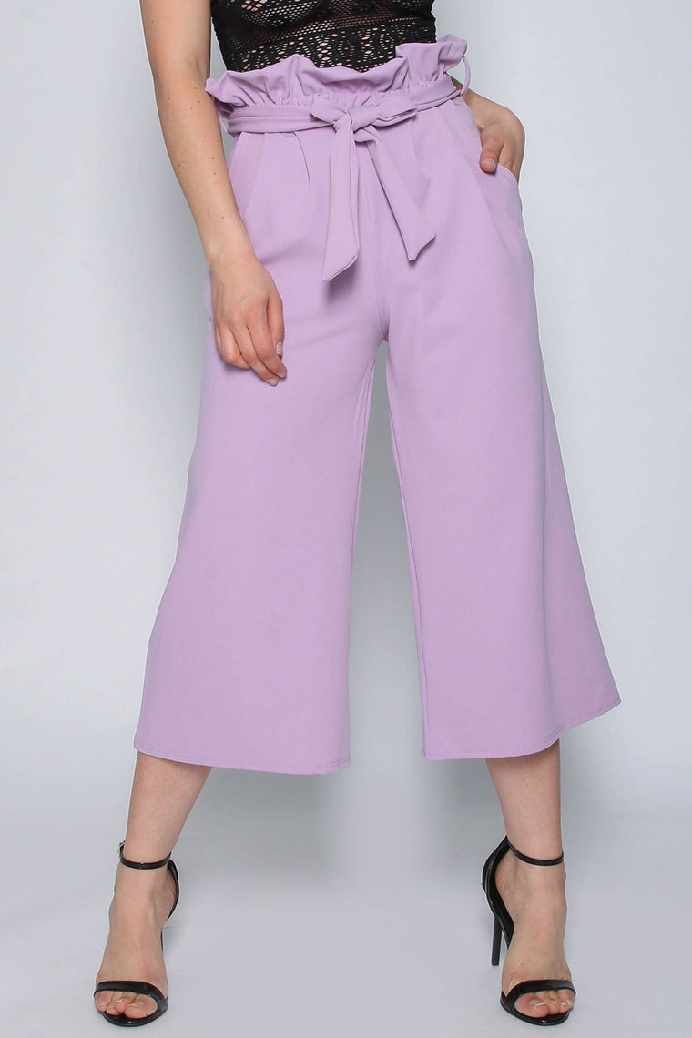 Lilac Paperbag Wide Leg Trousers