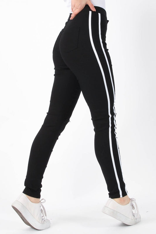 Black Side Stripe Ripped Skinny Jeans