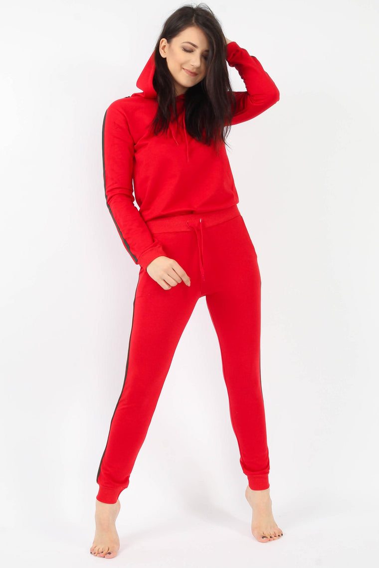 Stripe Hoodie & Joggers Red Lounge Suit