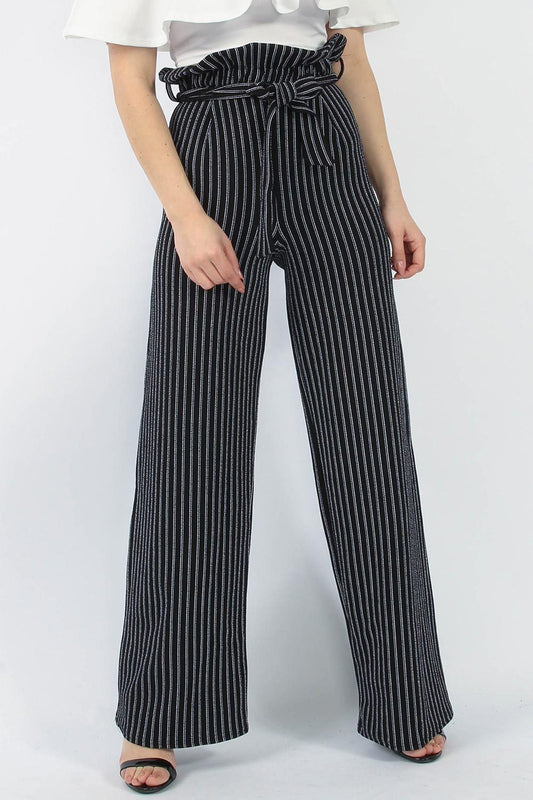 Stripe Paperbag Wide Leg Black Trousers