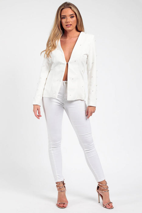 Off White Pearl Tailored Blazer