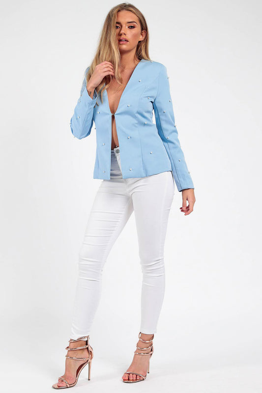 Baby Blue Pearl Tailored Blazer