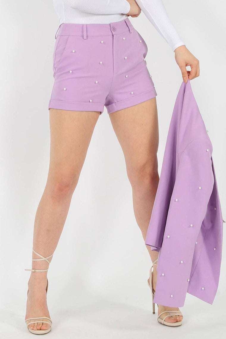 Lilac Pearl High Waisted Shorts