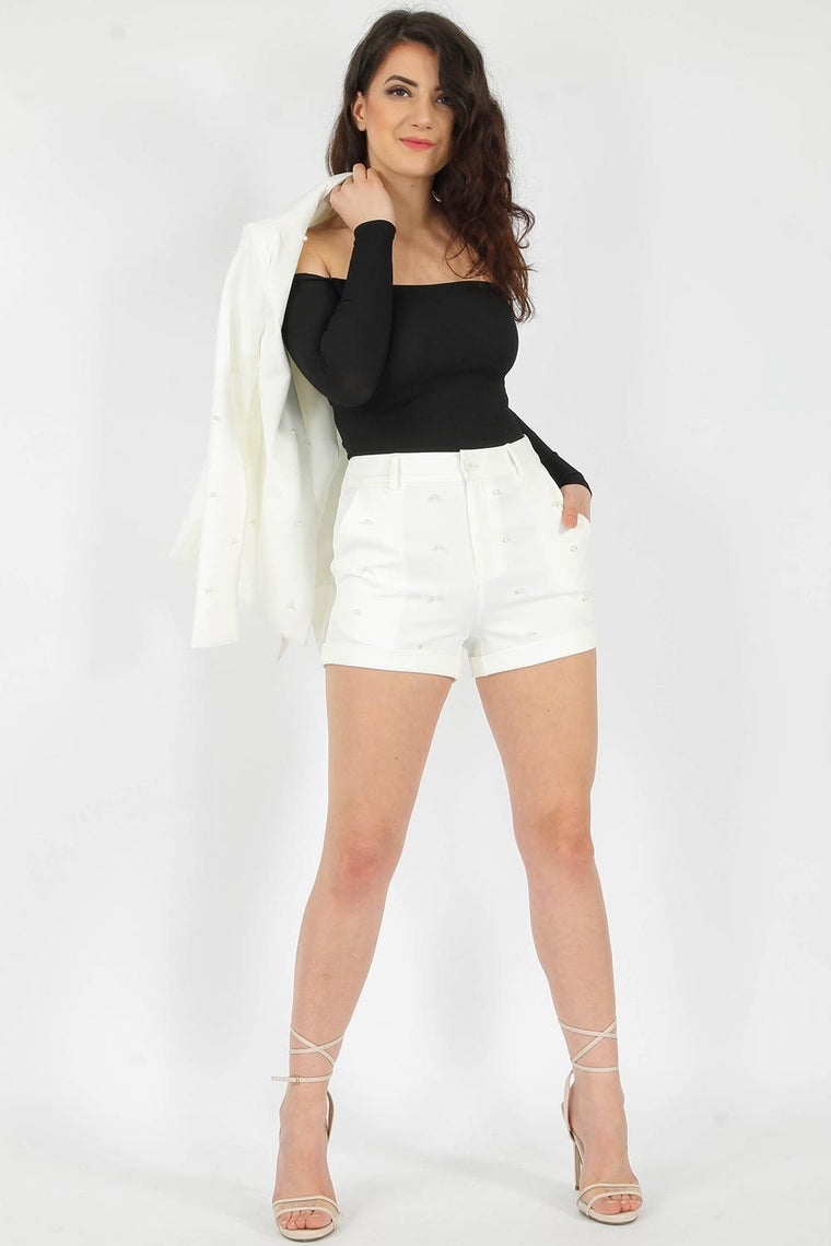 Off White Pearl High Waisted Shorts