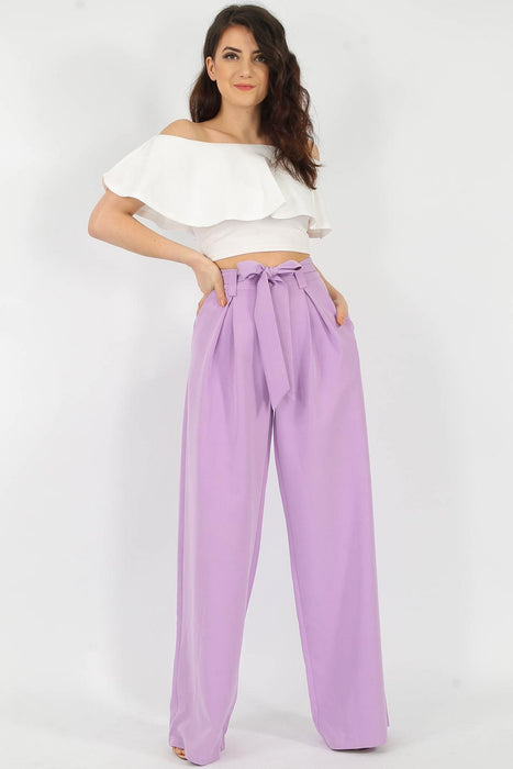 Wide Leg Tie Belt Trousers Lilac