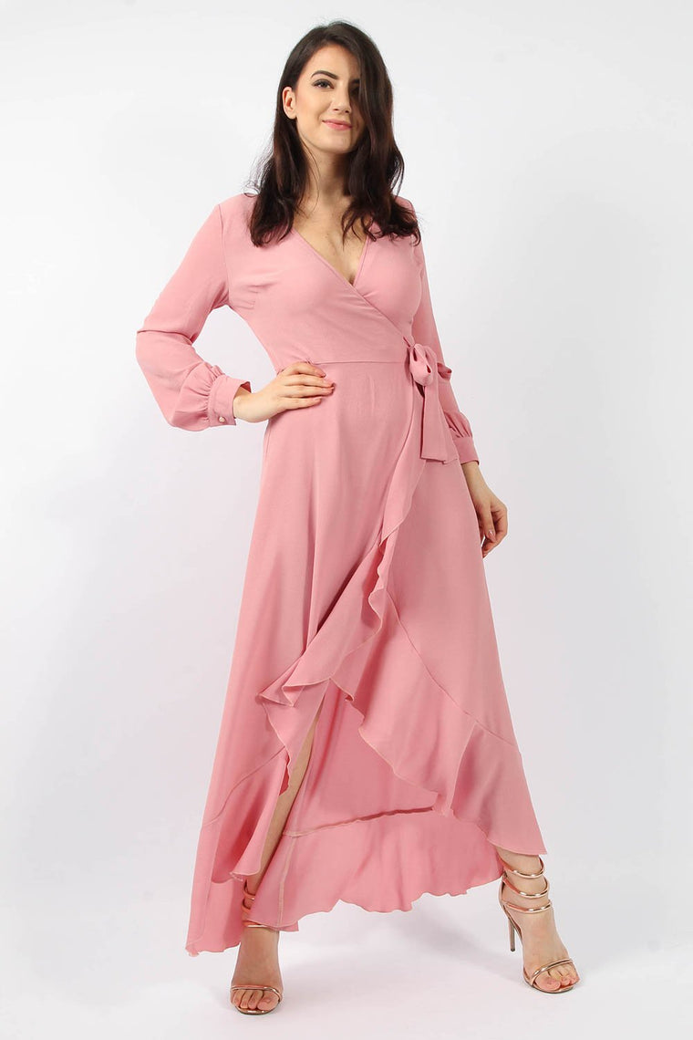 Rose Wrap Frill Maxi Dress