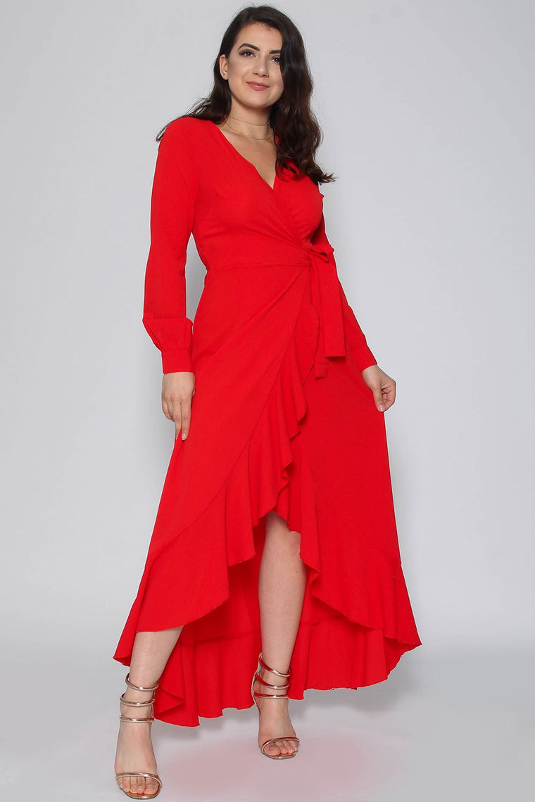 Harlow Red Wrap Frill Maxi Dress