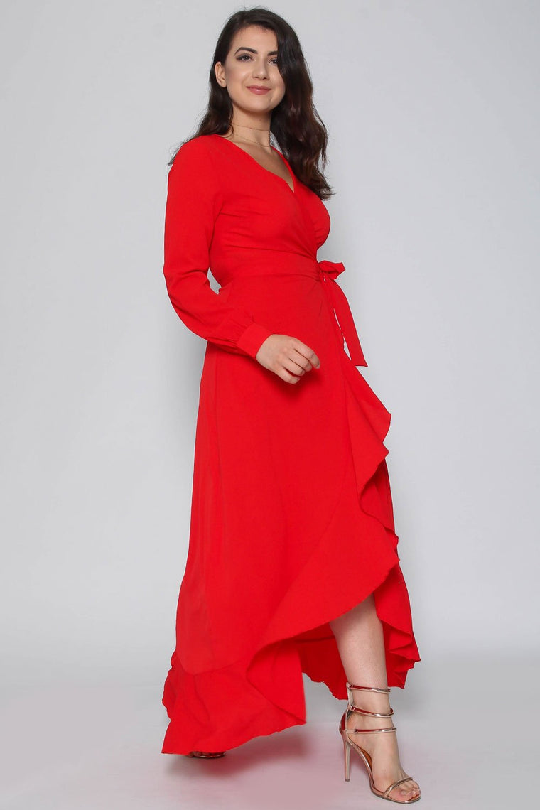Red Wrap Frill Maxi Dress