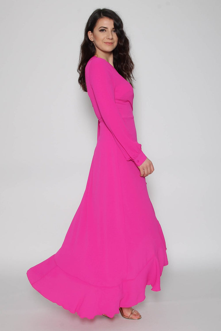 Magenta Wrap Frill Maxi Dress