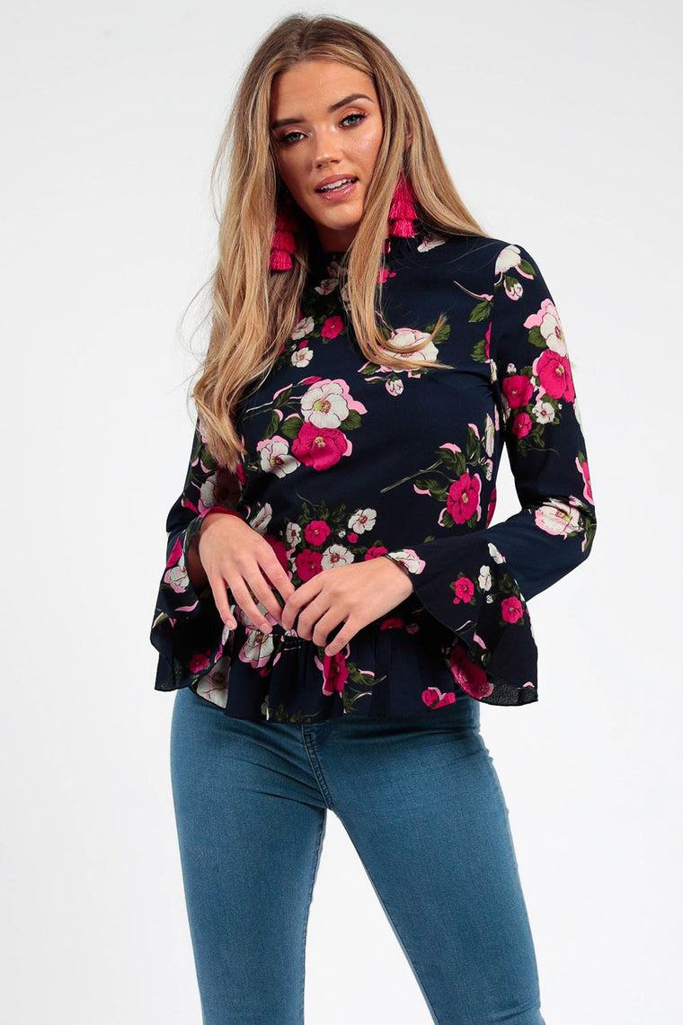Frill Floral Navy Crepe Top