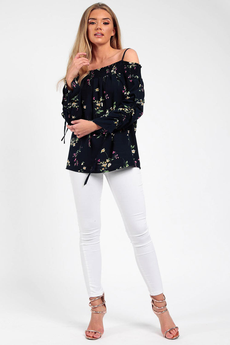 Ruched Bardot Crepe Navy  Floral Top