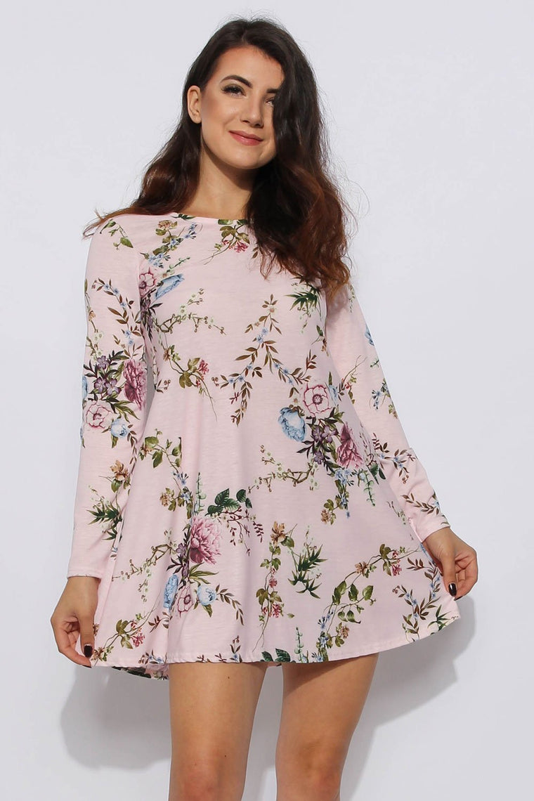 Nude Floral Swing Dress