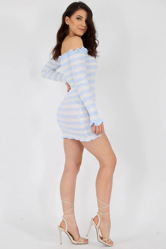Ruffle Bardot Ribbed Bodycon Powder Blue Dress