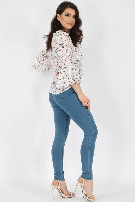 Floral Bell Sleeve White Top