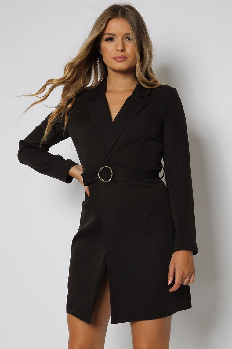 Black Tailored Tuxedo Blazer Dress