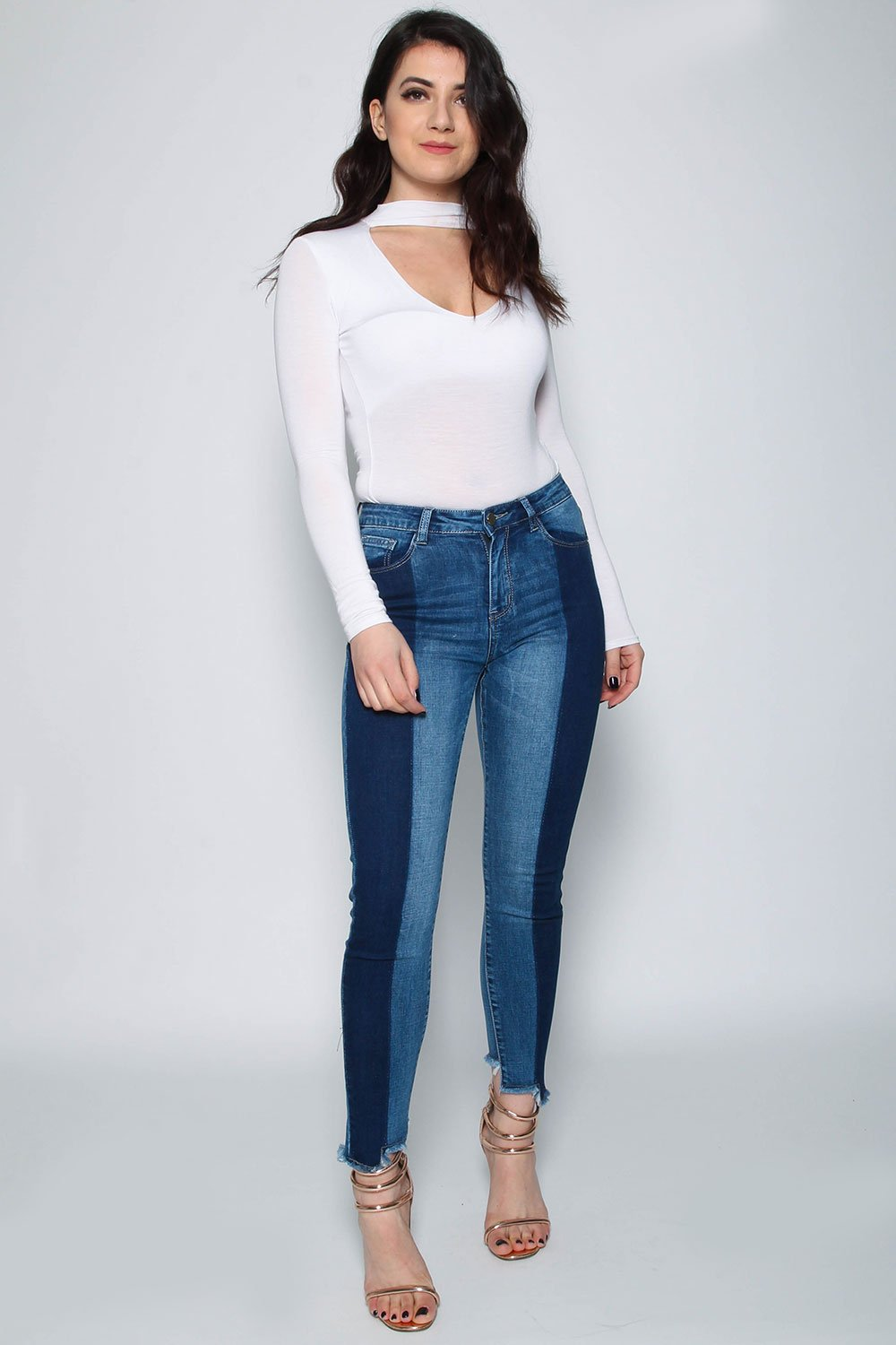 Two Tone Mid Rise Denim Jean