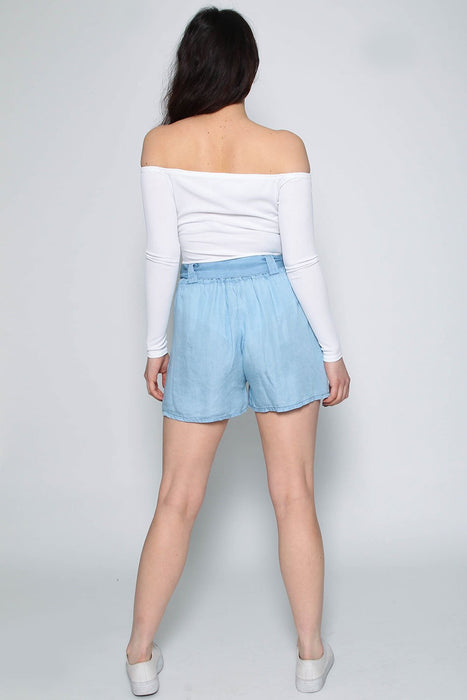 Denim Bow Tie Waist Shorts