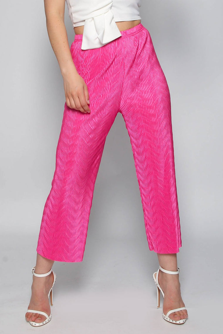 Hot Pink Pleated Culotte Trousers