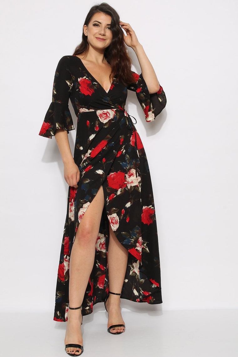 Black Floral Crepe Wrap Maxi Dress