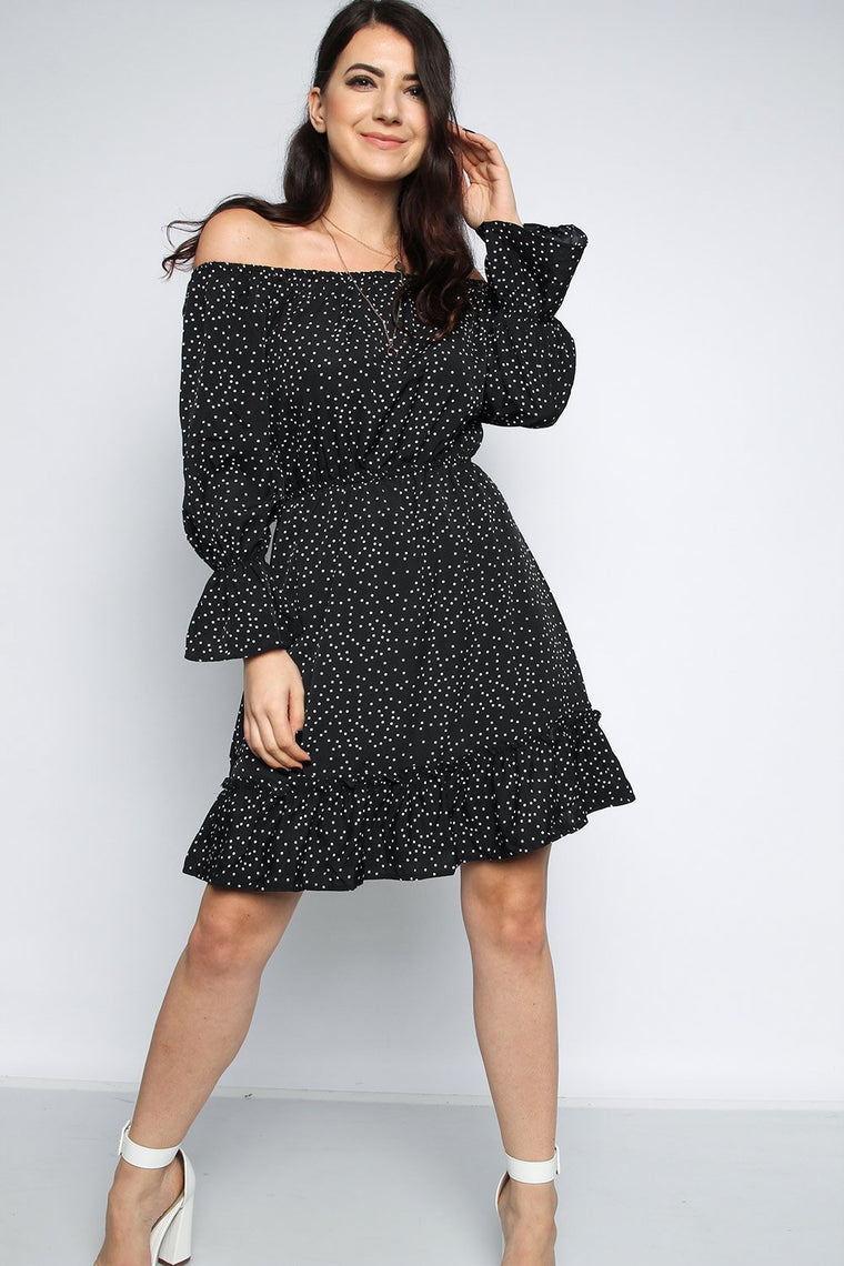 Black Polka Dot Bardot Skater Dress