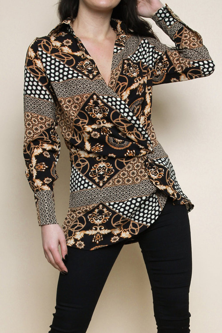 Scarf Print Twist Front Top