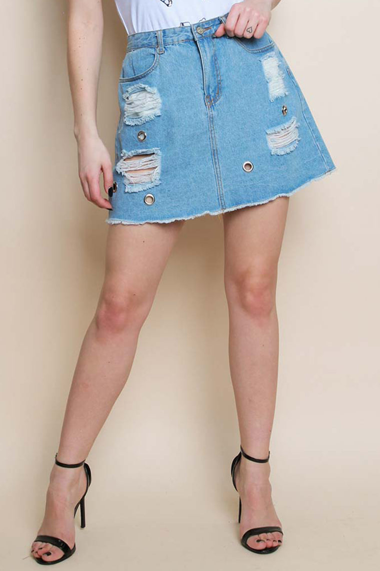 Distressed Denim Skirt With Eyelet Details