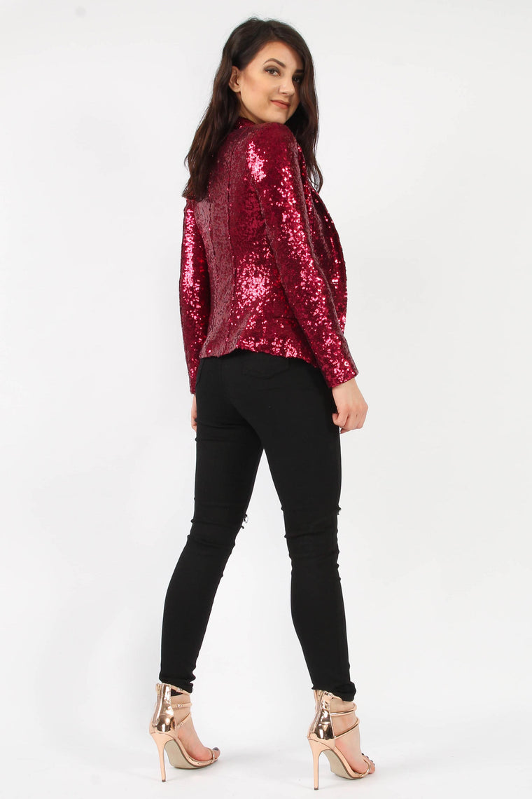 Sequin Wine Blazer