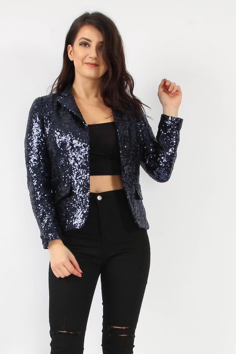 Sequin Navy Blazer