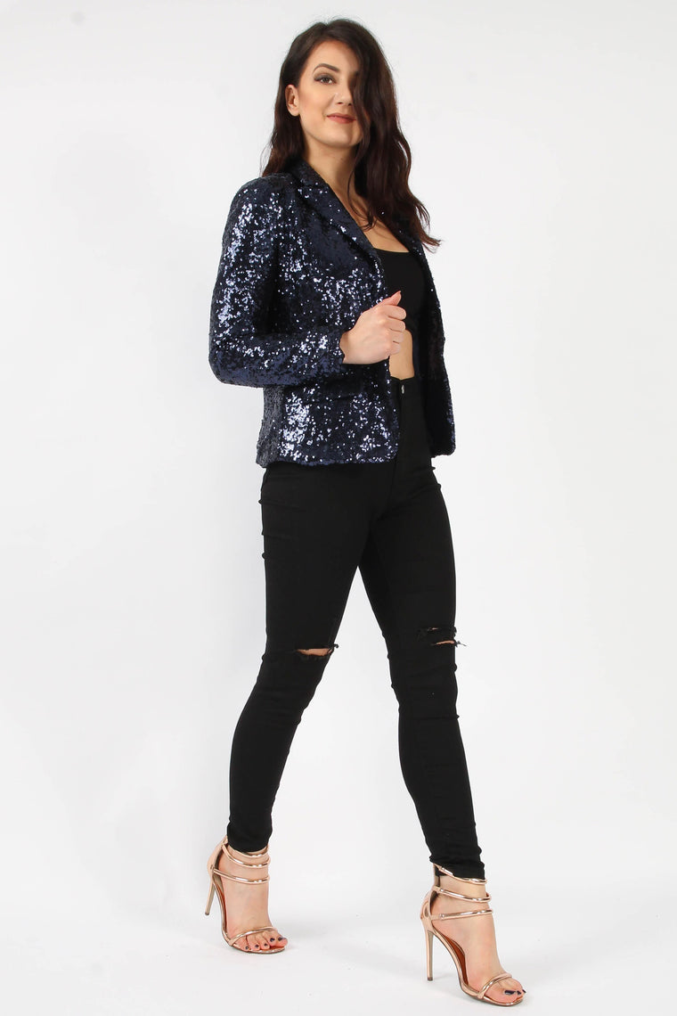 Navy Sequin Blazer