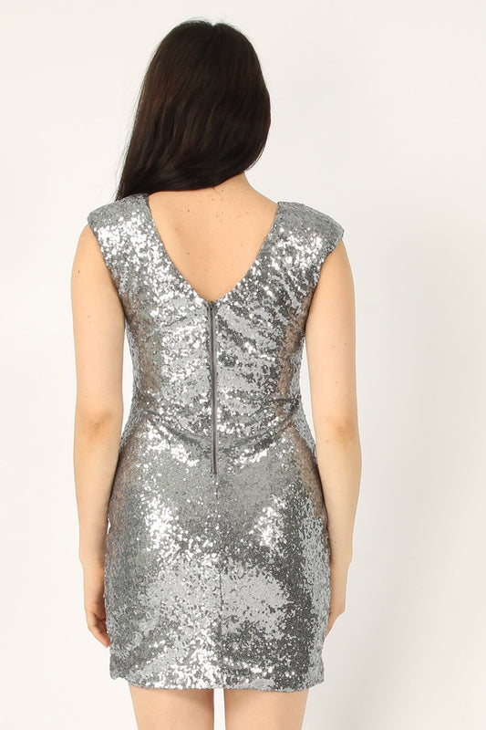 Silver Sequin Bodycon Dress