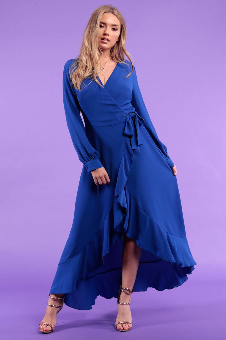 Cobalt Blue Wrap Frill Dress