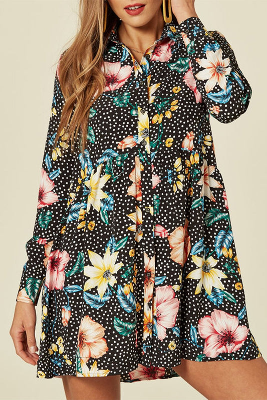 Black Floral Polka Dot Smock Dress