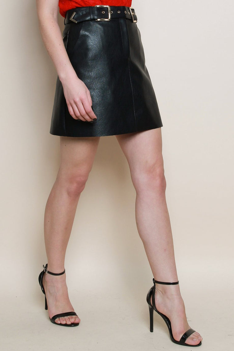 Black PU Stud Skirt with Belt Detail