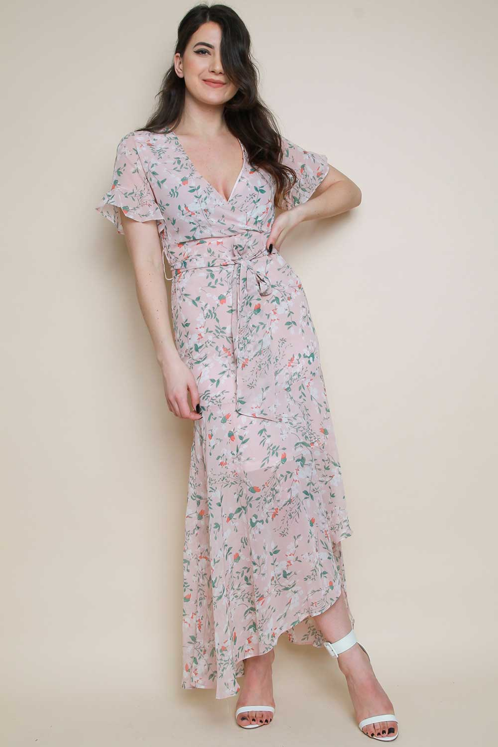 Ditsy Floral Wrap Maxi Dress