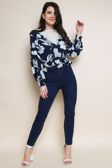 Lace Floral Shirred Top