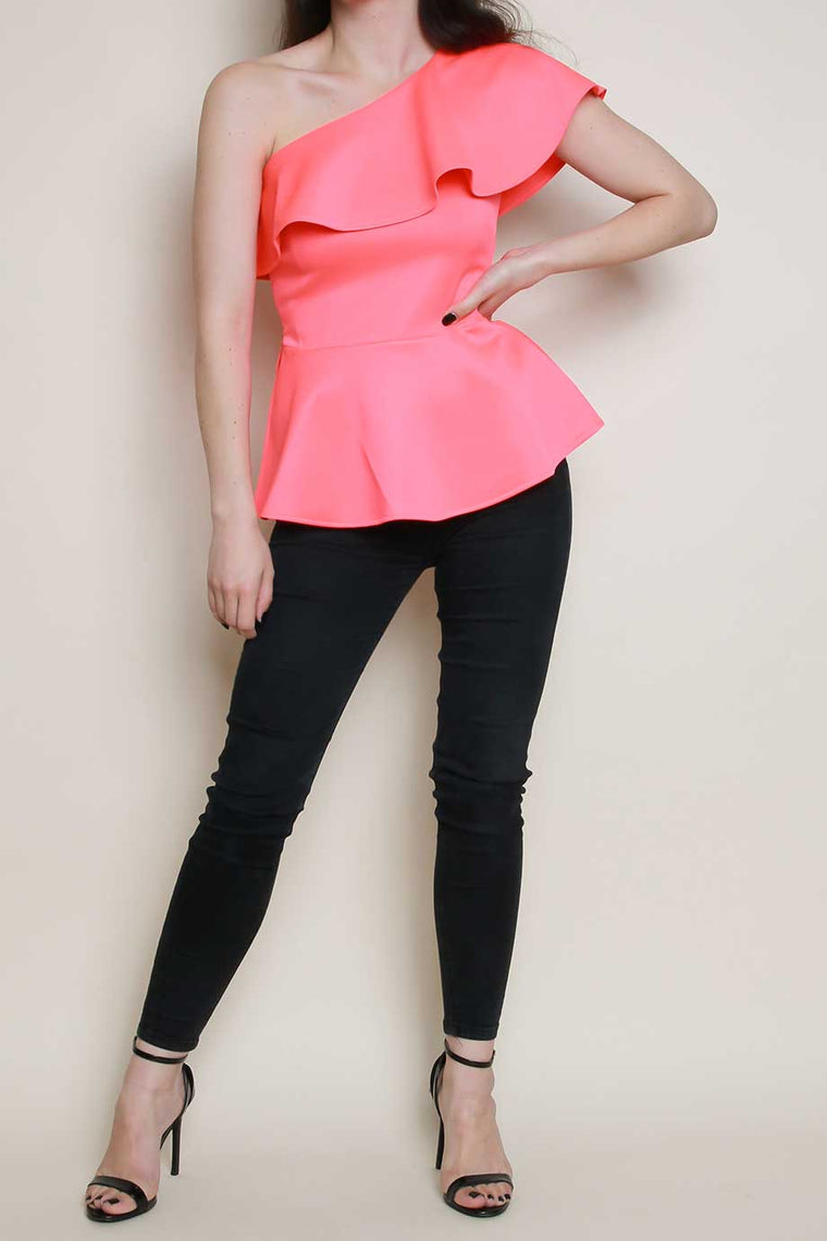 One Shoulder Frill Peplum Top