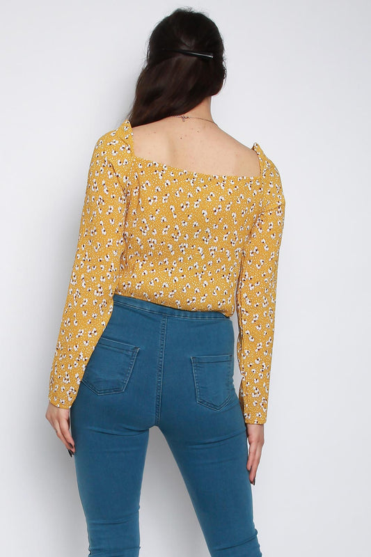 Square Neck Pleated Ditsy Floral Crop Top